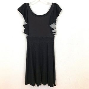 Free People sweater knit dress Ruffle Boho black